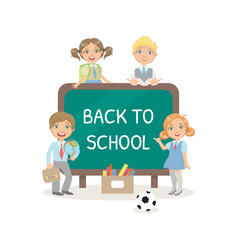 back to school text drawing chalk on blackboard vector image
