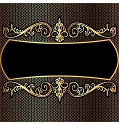 Background pattern frame from gild on black backgr vector