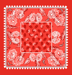 Bandana red paisley design vector