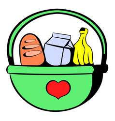 Basket with food icon icon cartoon vector