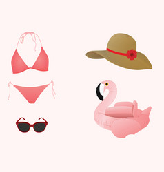 Beach summer items vector