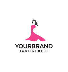 beautiful fashion woman logo designs template vector image