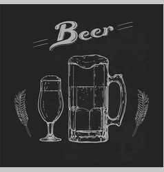 Beer on blackboard vector