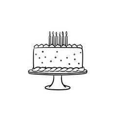 birthday cake hand drawn sketch icon vector image