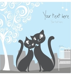 black cat on a city background with space for text vector image