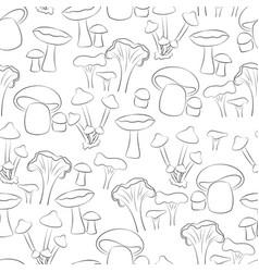 black mushroom in white background seamless vector image