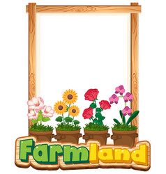 border template design with many flowers in the vector image