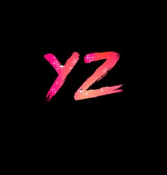 Brush Stroke Font from Y to Z vector image
