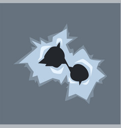 Bullet holes in glass with cracks and scratches vector
