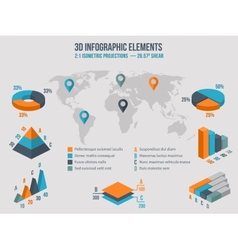 business infographics elements 3d charts vector image