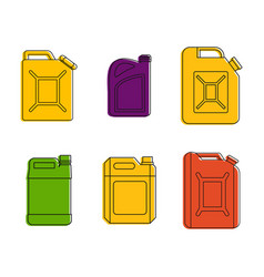 canister icon set color outline style vector image
