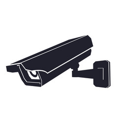 Cctv camera black outline flat icon vector