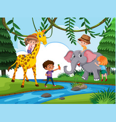 children playing with wild animal vector image