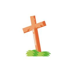 Christian cross on white background vector