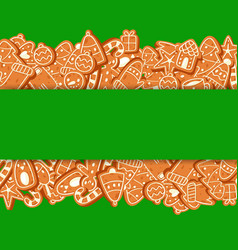christmas banner made gingerbread cookies vector image