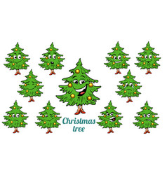 Christmas tree emotions emoticons set isolated on vector