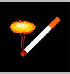 Cigarette and explosion isolated smoking vector