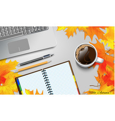 Coffee mug on the table with autumn leaves vector