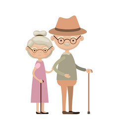 colorful full body elderly couple in walking stick vector image
