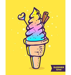 Colorful of gradient ice cream with chocolat vector