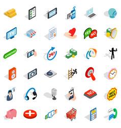 Communication icons set isometric style vector