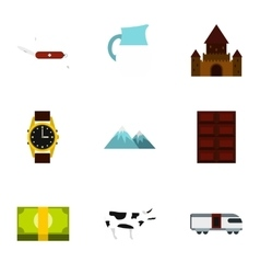 Country Switzerland icons set flat style vector