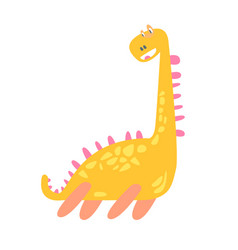 cute funny yellow dinosaur prehistoric animal vector image