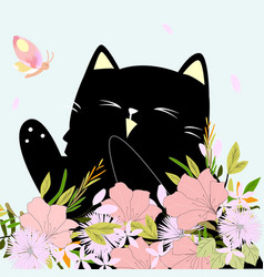 cute kitten kitty cat in the flower garden with vector image