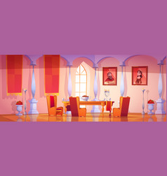 Dining room interior in medieval royal castle vector
