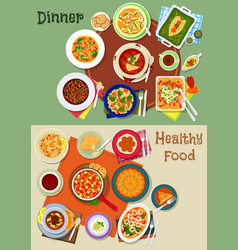 dinner food icon with spanish and jewish dishes vector image