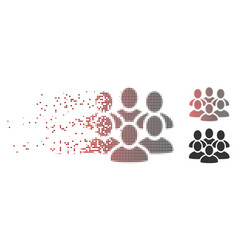 Disappearing pixel halftone user crowd icon vector