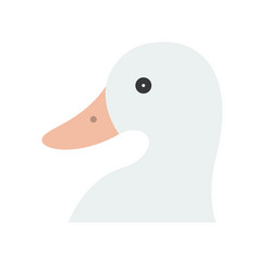 Duck head farm animal flat style icon vector