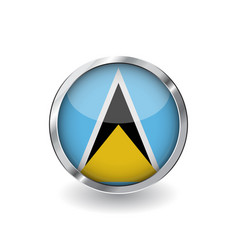 flag of saint lucia button with metal frame and vector image