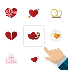 Flat icon love set of divorce ring wings and vector