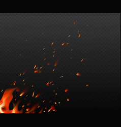Flying fiery sparks on transparent dark background vector
