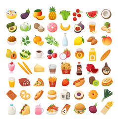 food ingredients and dishes icons vector image