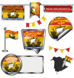 Glossy icons with flag province new brunswick vector