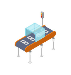 Goods conveyor belt isometric 3d icon vector