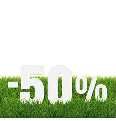 Green grass border with sale poster transparent vector