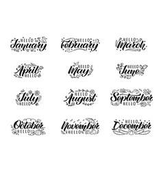 Hand drawn lettering names of months and doodles vector