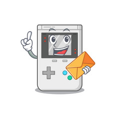 Happy face handheld game scroll mascot design with vector