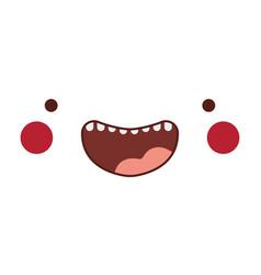Happy kawaii cartoon face with cheeks vector
