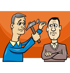 Hit nail on head cartoon vector