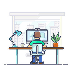 home office workplace desk flat male modern vector image