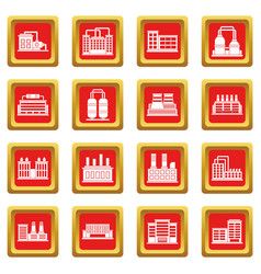 Industrial building icons set red vector
