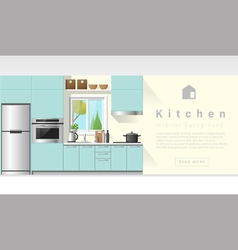Interior design Modern kitchen background 6 vector image
