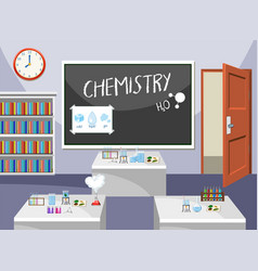 interior of chemistry classroom vector image