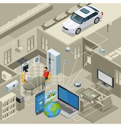 Internet Of Things Concept Isometric Poster vector