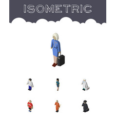 Isometric person set of cleaner hostess male and vector