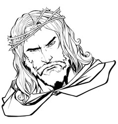Jesus portrait 2 line art vector